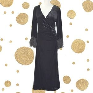 Cachet Black Velvet Gown Long Feather Sleeves